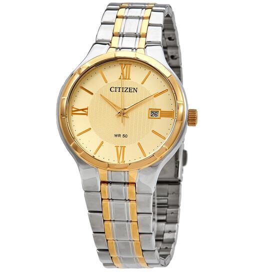 Citizen Quartz Champagne Dial Stainless Steel Men's Watch BI5024-54P   Joma Shop