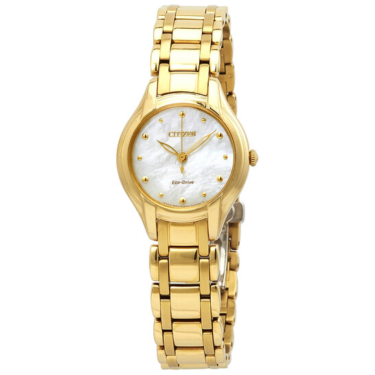 Citizen Silhouette Eco-Drive Mother of Pearl Gold-Tone Stainless Steel Ladies Watch EM0282-56D | Joma Shop