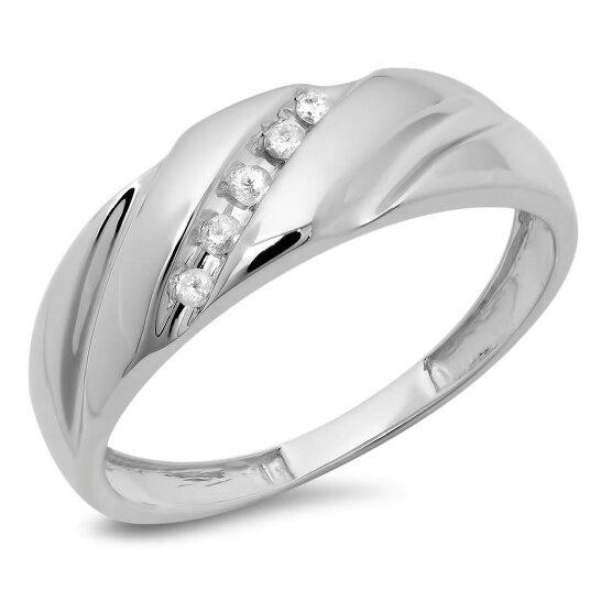 Dazzling Rock Dazzlingrock Collection 0.08 Carat (ctw) 10K Round White Diamond Men's Fashion 5 Stone Wedding Band, White Gold, Size 10   Joma Shop