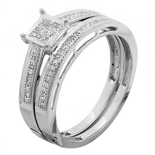 Dazzling Rock Dazzlingrock Collection 0.10 Carat (ctw) 10K Round Cut White Diamond Ladies Engagement Ring Set 1/10 CT, White Gold, Size 6   Joma Shop