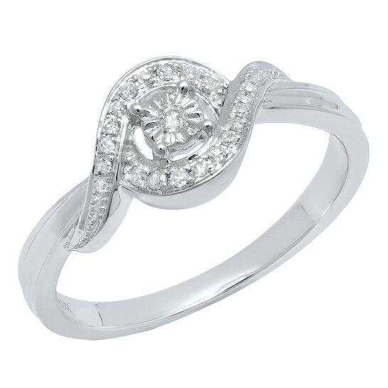 Dazzling Rock Dazzlingrock Collection 0.10 Carat (ctw) 10K Round Diamond Ladies Promise Engagement Ring 1/10 CT, White Gold, Size 8   Joma Shop