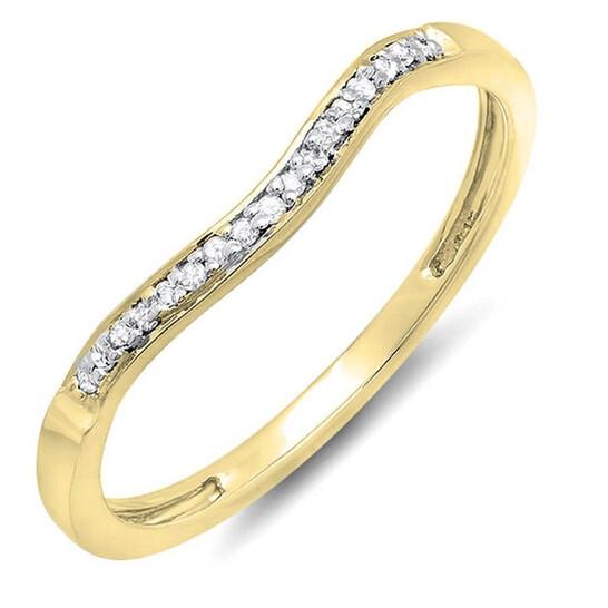 Dazzling Rock Dazzlingrock Collection 0.10 Carat (ctw) 14K Round Diamond Ladies Anniversary Wedding Guard Ring 1/10 CT, Yellow Gold, Size 9 | Joma Shop