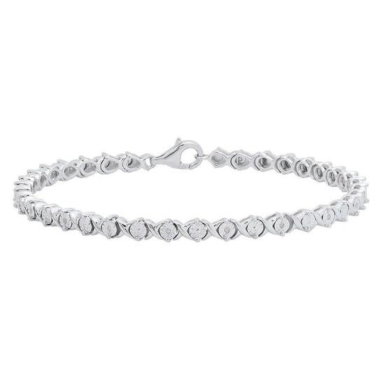 Dazzling Rock Dazzlingrock Collection 0.10 Carat (ctw) Round Cut White Diamond Ladies XO Shape Tennis Bracelet 1/10 CT, Sterling Silver   Joma Shop