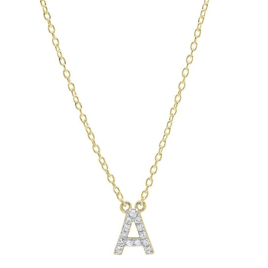 Dazzling Rock Dazzlingrock Collection 0.12 Carat (ctw) 14K Diamond Uppercase Letter A Initial Pendant (Gold Chain Included), Yellow Gold   Joma Shop