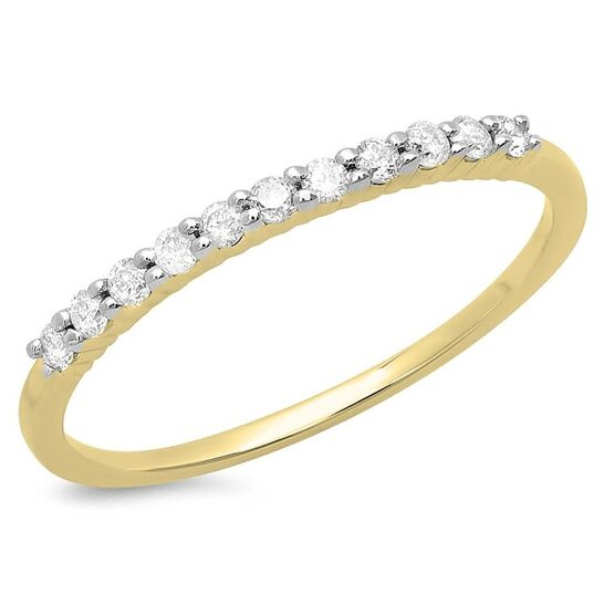 Dazzling Rock Dazzlingrock Collection 0.18 Carat (ctw) 14K Round White Diamond Stackable Anniversary Wedding Band, Yellow Gold, Size 6 | Joma Shop