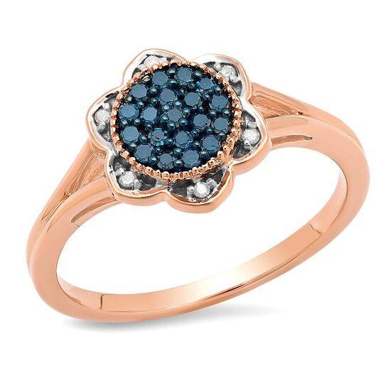 Dazzling Rock Dazzlingrock Collection 0.20 Carat (ctw) 10K Round Blue & White Diamond Ladies Engagement Ring 1/5 CT, Rose Gold, Size 7   Joma Shop