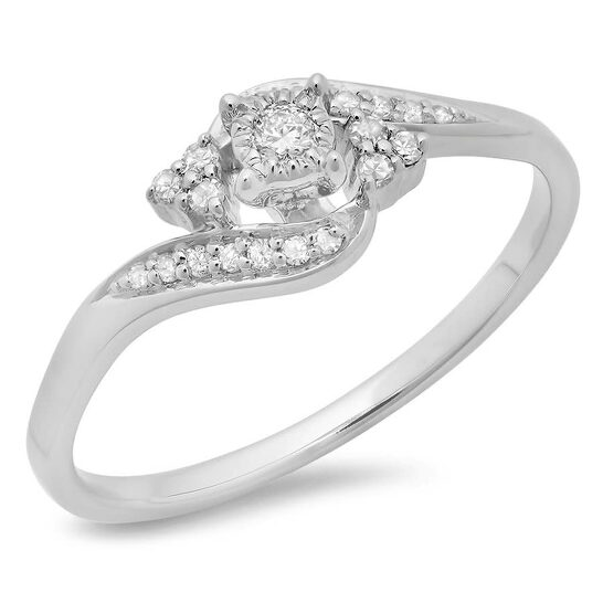 Dazzling Rock Dazzlingrock Collection 0.20 Carat (ctw) 10K Round Diamond Ladies Twisted Promise Engagement Ring 1/5 CT, White Gold, Size 7   Joma Shop