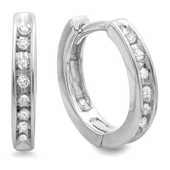Dazzling Rock Dazzlingrock Collection 0.20 Carat (ctw) 13mm 10K Round Diamond Ladies Huggie Hoop Earrings, White Gold   Joma Shop