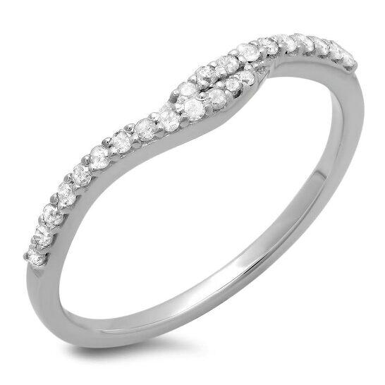 Dazzling Rock Dazzlingrock Collection 0.20 Carat (ctw) 14K Round Diamond Ladies Anniversary Wedding Guard Ring 1/5 CT, White Gold, Size 6 | Joma Shop