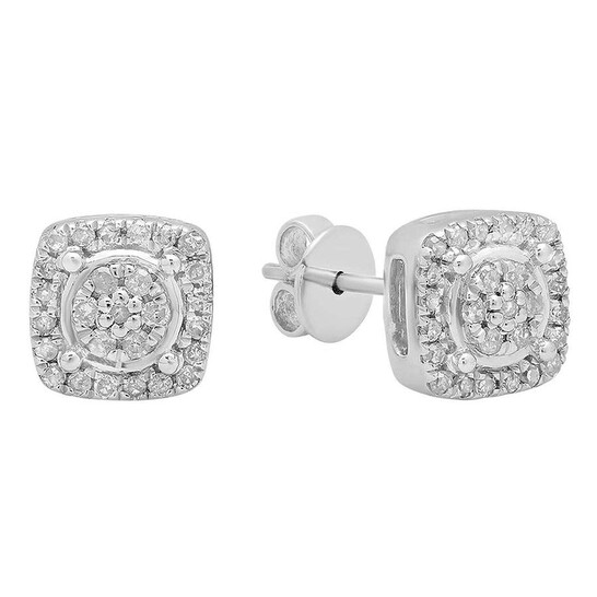 Dazzling Rock Dazzlingrock Collection 0.20 Carat (ctw) 14K Round White Diamond Ladies Cluster Style Stud Earrings 1/5 CT, White Gold   Joma Shop