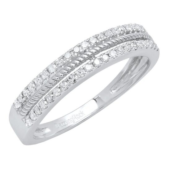 Dazzling Rock Dazzlingrock Collection 0.22 Carat (ctw) 10K Round Diamond Anniversary Wedding Stackable Band 1/4 CT, White Gold, Size 7   Joma Shop