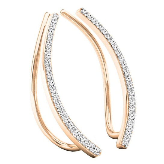 Dazzling Rock Dazzlingrock Collection 0.22 Carat (ctw) 10K Round White Diamond Ladies Crawler Climber Earrings, Rose Gold | Joma Shop