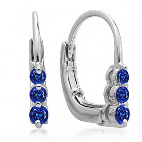 Dazzling Rock Dazzlingrock Collection 0.25 Carat (ctw) 10K Round Blue Sapphire Ladies 3 Stone Hoop Earrings 1/4 CT, White Gold   Joma Shop