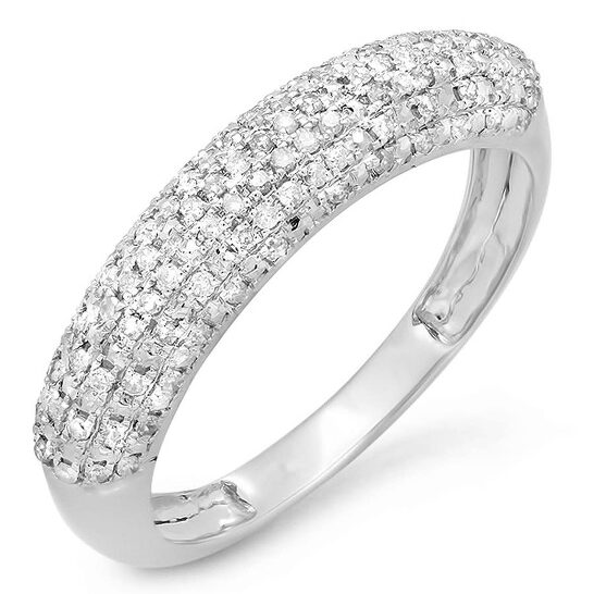 Dazzling Rock Dazzlingrock Collection 0.25 Carat (ctw) 10K Round Cut White Diamond Anniversary Wedding Band Ring 1/4 CT, White Gold, Size 5 | Joma Shop
