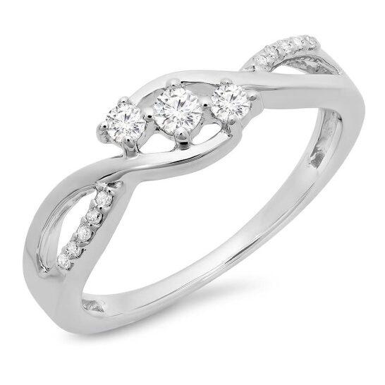 Dazzling Rock Dazzlingrock Collection 0.25 Carat (ctw) 10K Round Diamond Ladies 3 Stone Swirl Engagement Ring 1/4 CT, White Gold, Size 7   Joma Shop