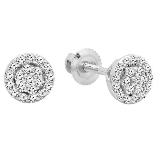 Dazzling Rock Dazzlingrock Collection 0.25 Carat (ctw) 10K Round White Diamond Ladies Circle Cluster Stud Earrings, White Gold | Joma Shop