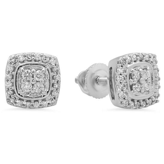 Dazzling Rock Dazzlingrock Collection 0.25 Carat (Ctw) 10k Round White Diamond Ladies Stud Earrings, White Gold | Joma Shop