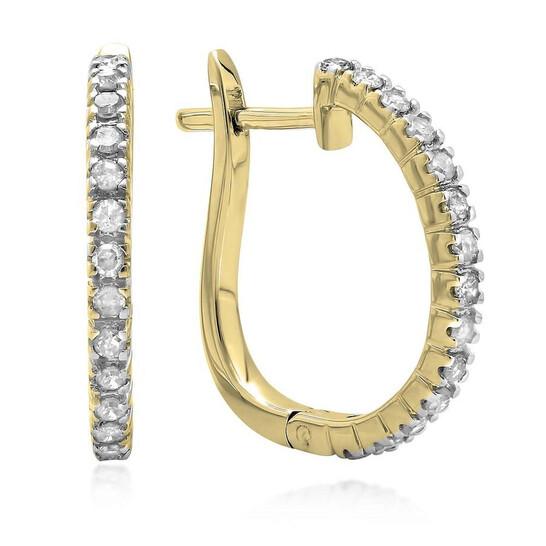 Dazzling Rock Dazzlingrock Collection 0.25 Carat (ctw) 14K Round Cut Diamond Ladies Hoop Earrings 1/4 CT, Yellow Gold | Joma Shop