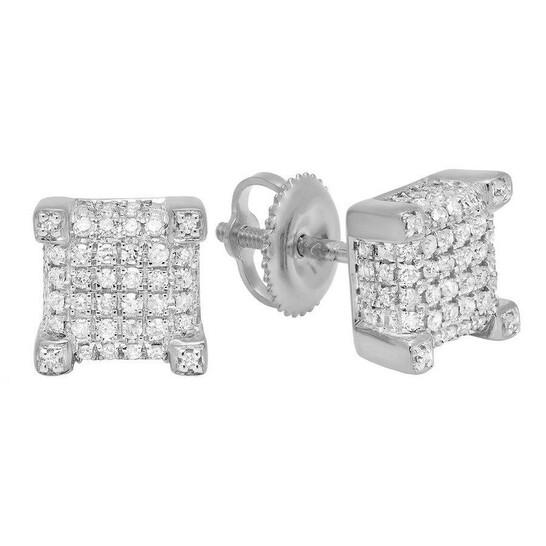 Dazzling Rock Dazzlingrock Collection 0.25 Carat (ctw) 14K Round Diamond Dice Shaped Hip Hop Men's Stud Earrings 1/4 CT, White Gold   Joma Shop