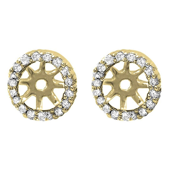 Dazzling Rock Dazzlingrock Collection 0.25 Carat (ctw) 14K Round Diamond Removable Jackets for Stud Earrings 1/4 CT, Yellow Gold   Joma Shop