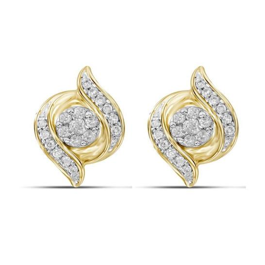 Dazzling Rock Dazzlingrock Collection 0.25 Carat (ctw) 14K Round White Diamond Swirl Cluster Stud Earrings 1/4 CT, Yellow Gold | Joma Shop