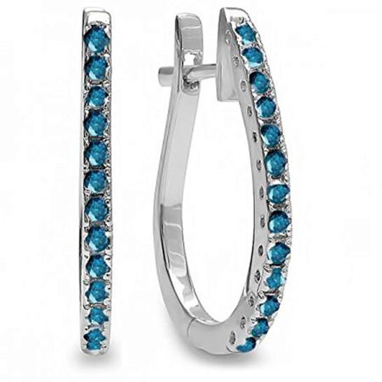 Dazzling Rock Dazzlingrock Collection 0.25 Carat (ctw) 18K Round Blue Diamond Ladies Hoop Earrings 1/4 CT, White Gold   Joma Shop