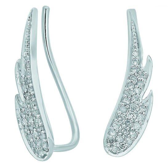 Dazzling Rock Dazzlingrock Collection 0.30 Carat (ctw) 10K Round Cut White Diamond Ladies Crawler Climber Earrings 1/3 CT, White Gold | Joma Shop