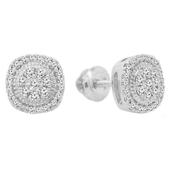 Dazzling Rock Dazzlingrock Collection 0.30 Carat (ctw) 10K Round White Diamond Ladies Cluster Stud Earrings 1/3 CT, White Gold   Joma Shop
