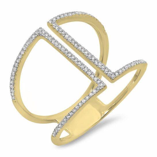 Dazzling Rock Dazzlingrock Collection 0.30 Carat (ctw) 14K Round White Diamond Ladies Geometric Fashion Ring 1/3 CT, Yellow Gold, Size 6   Joma Shop