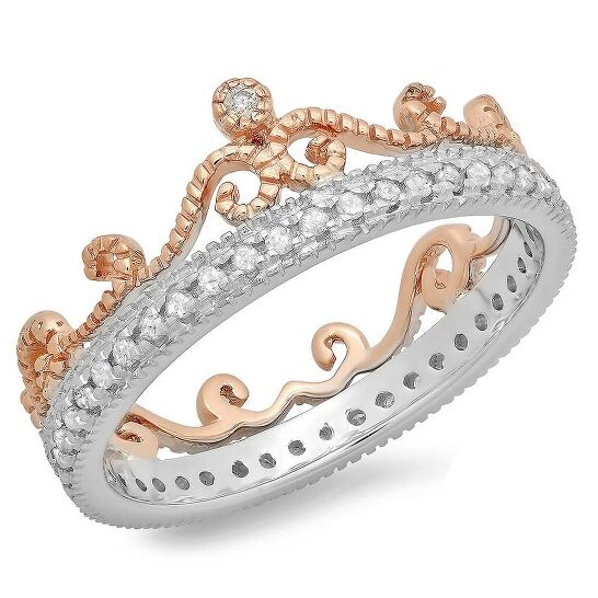 Dazzling Rock Dazzlingrock Collection 0.33 Carat (ctw) 10K Two Tone Gold Round Diamond Bridal Crown Anniversary Eternity Ring 1/3 CT, Size 7 | Joma Shop