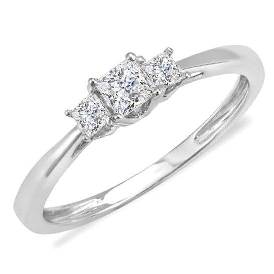 Dazzling Rock Dazzlingrock Collection 0.33 Carat (ctw) 14k Princess Diamond Ladies Bridal 3 Stone Ring Engagement 1/3 CT, White Gold, Size 7.5   Joma Shop