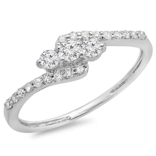 Dazzling Rock Dazzlingrock Collection 0.33 Carat (ctw) 14k Round Diamond Ladies Swirl Engagement 3 Stone Bridal Ring 1/3 CT, White Gold, Size 7   Joma Shop