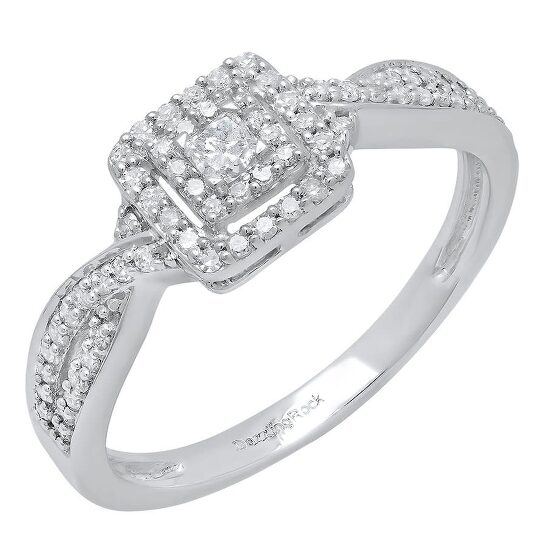 Dazzling Rock Dazzlingrock Collection 0.35 Carat (ctw) 10K Princess & Round Diamond Ladies Engagement Ring 1/3 CT, White Gold, Size 7   Joma Shop