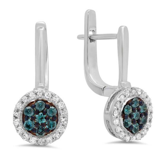 Dazzling Rock Dazzlingrock Collection 0.35 Carat (ctw) 14K Round Blue & White Diamond Ladies Fine Halo Hoop Earrings 1/3 CT, White Gold | Joma Shop