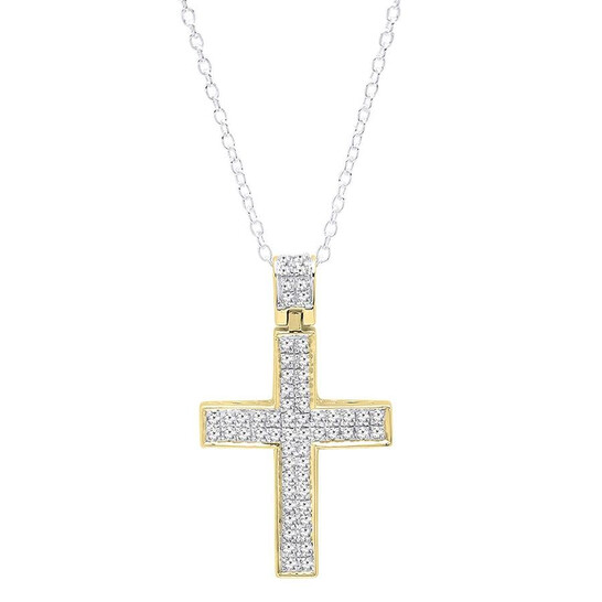 Dazzling Rock Dazzlingrock Collection 0.35 Carat (ctw) 14K Round Diamond Ladies Cross Pendant 1/3 (Silver Chain Included), Yellow Gold | Joma Shop