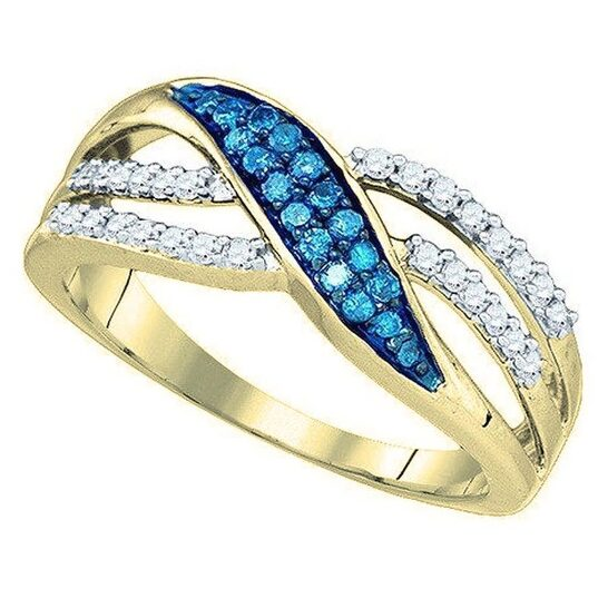 Dazzling Rock Dazzlingrock Collection 0.40 Carat (ctw) 10K Round Blue & White Diamond Cocktail Right Hand Ring, Yellow Gold, Size 8 | Joma Shop