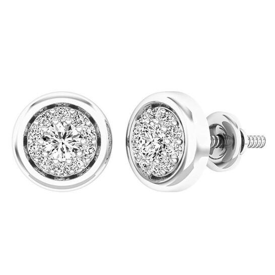 Dazzling Rock Dazzlingrock Collection 0.40 Carat (ctw) 14K Round White Diamond Ladies Cluster Stud Earrings, White Gold | Joma Shop