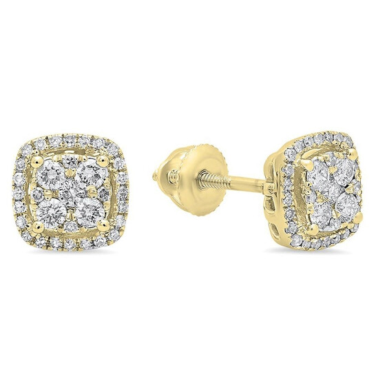 Dazzling Rock Dazzlingrock Collection 0.40 Carat (ctw) 14K Round White Diamond Ladies Cluster Style Stud Earrings, Yellow Gold   Joma Shop