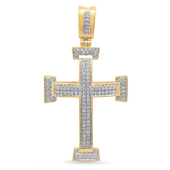Dazzling Rock Dazzlingrock Collection 0.40 Carat (ctw) Dainty 10K Round Diamond Ladies Micro Pave Religious Cross Pendant, Yellow Gold | Joma Shop