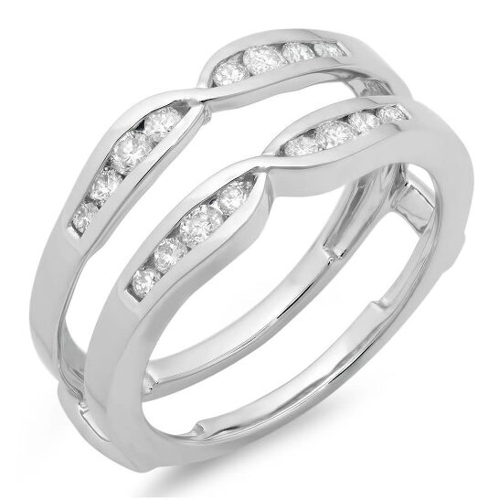 Dazzling Rock Dazzlingrock Collection 0.42 Carat (ctw) 10K Round Diamond Ladies Wedding Enhancer Guard Double Ring, White Gold, Size 7.5   Joma Shop
