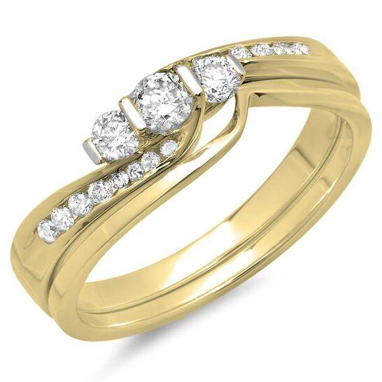 Dazzling Rock Dazzlingrock Collection 0.45 Carat (ctw) 10K Diamond Ladies Swirl 3 Stone Engagement Ring Set 1/2 CT, Yellow Gold, Size 6 | Joma Shop