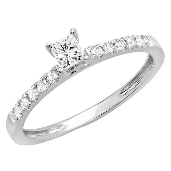 Dazzling Rock Dazzlingrock Collection 0.45 Carat (ctw) 14K Princess & Round Diamond Ladies Engagement Ring 1/2 CT, White Gold, Size 5.5 | Joma Shop
