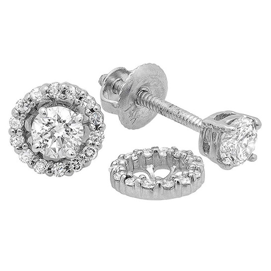 Dazzling Rock Dazzlingrock Collection 0.45 Carat (ctw) 14K Round Diamond Ladies Stud Earrings With Removable Jackets 1/2 CT, White Gold | Joma Shop