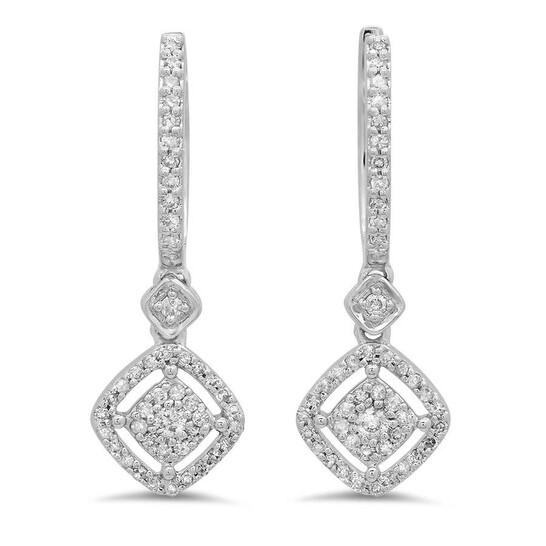 Dazzling Rock Dazzlingrock Collection 0.45 Carat (ctw) 14K Round White Diamond Ladies Cluster Dangling Drop Earrings 1/2 CT, White Gold | Joma Shop