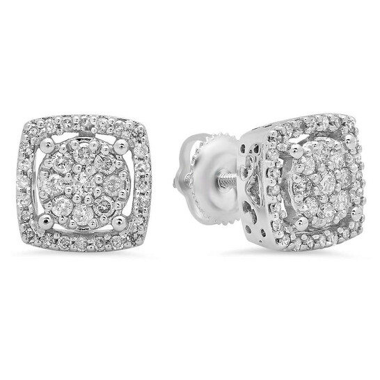 Dazzling Rock Dazzlingrock Collection 0.50 Carat (Ctw) 10K Real Round Cut White Diamond Ladies Cluster Stud Earrings 1/2 CT, White Gold | Joma Shop