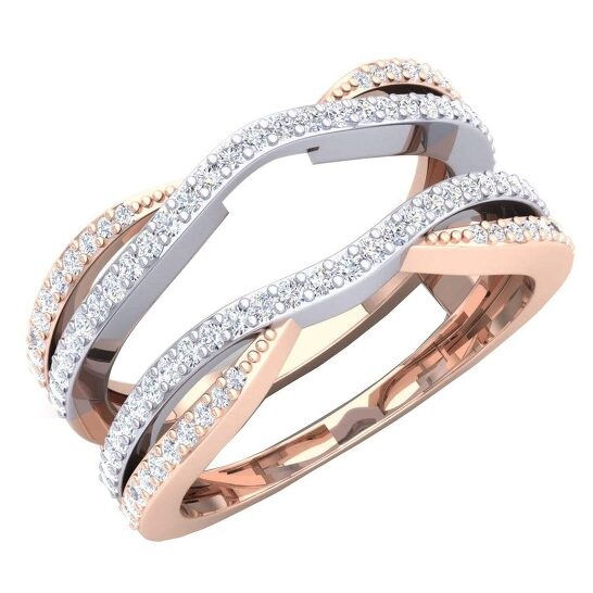 Dazzling Rock Dazzlingrock Collection 0.50 Carat (ctw) 10K White & Two Tone Diamond Wedding Band Guard Double Ring 1/2 CT, Rose Gold, Size 5 | Joma Shop