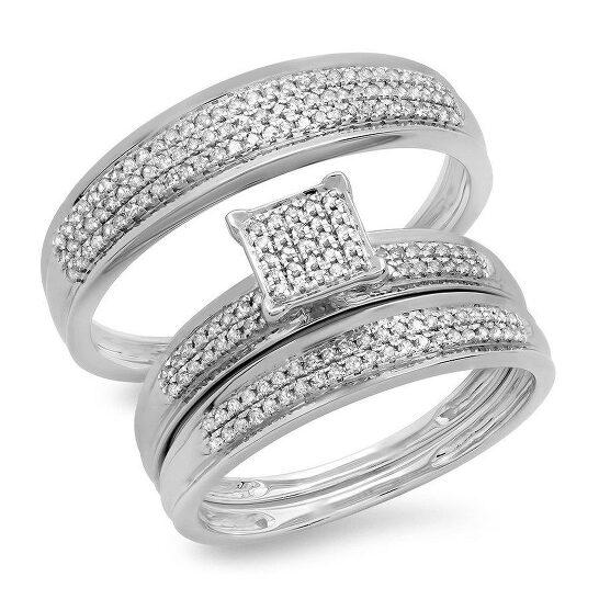 Dazzling Rock Dazzlingrock Collection 0.50 Carat (ctw) 14K Round Diamond Men's & Womens Engagement Ring Trio Bridal Wedding Band Set, White Gold | Joma Shop
