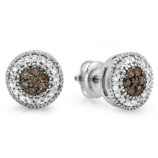 Dazzling Rock Dazzlingrock Collection 0.55 Carat (ctw) 10K Round Cut White & Champagne Diamond Ladies Cluster Stud Earrings 1/2 CT, White Gold | Joma Shop
