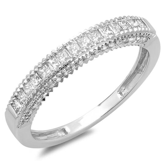 Dazzling Rock Dazzlingrock Collection 0.55 Carat (ctw) 14K Princess & Round Diamond Wedding Band Ring 1/2 CT, White Gold, Size 6 | Joma Shop