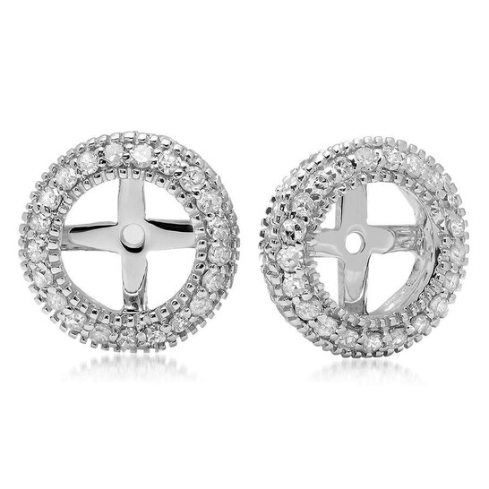 Dazzling Rock Dazzlingrock Collection 0.55 Carat (ctw) 14K Round Cut Diamond Millgrain Removable Jackets For Stud Earrings 1/2 CT, White Gold   Joma Shop